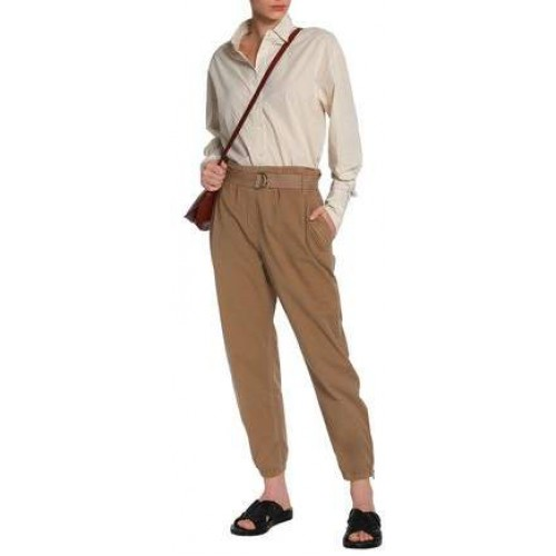 Brunello Cucinelli Belted Cotton-Blend Will Tapered Pants 2018 new style LKTUCPG