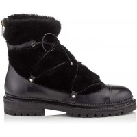 Jimmy Choo DARCIE FLAT Black Leather Boots with Shearling 2018 new style JZCNLSQ