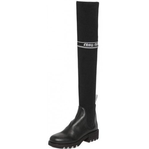 Miu Miu 40mm Leather & Knit Over The Knee Boots 2018 new style HRFAPDL