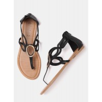 DressBerry Women Black Solid Cut-Out Open Toe Flats 6680644 BRVAQIW