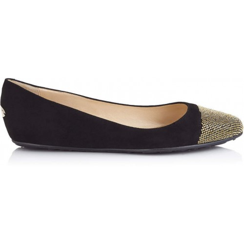 Jimmy Choo WAINE Black Suede and Metal Micro studs Ballet Flats 2018 new style ICOBKYD