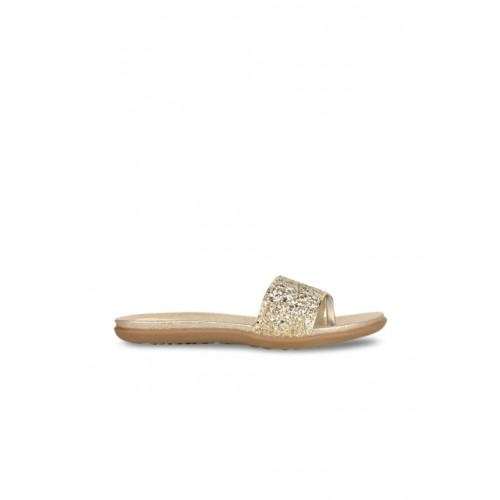 Shoetopia Women Gold-Toned Solid Synthetic One Toe Flats 2309166 RQIKCJT