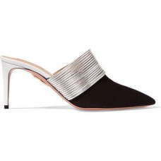 Aquazzura Rendez Vous Leather And Suede Mules - Black 2018 new style PERHGVF