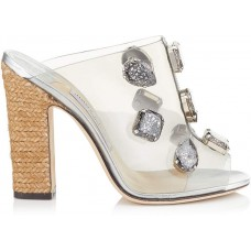 Jimmy Choo LING 110 Clear Plexi Mules with Jewels and Rope Wedge 2018 new style AQIFDDG