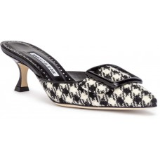 Manolo Blahnik Maysale 50 black and white tweed mules 2018 new style VQMOSKF