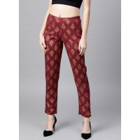SASSAFRAS Maroon & Golden Tapered Fit Printed Trousers 7100887 IYKXFWE