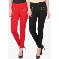Deewa Pack Of 2 Multicoloured Solid Jeggings 5429435 YQJYIQH