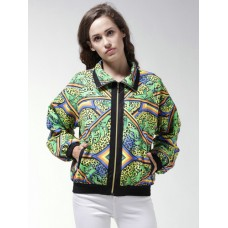 FOREVER 21 Women Green Printed Bomber Jacket 6979440 YQXKPYW