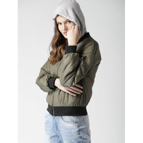 FOREVER 21 Women Olive Green Solid Hooded Bomber Jacket 6979572 WCQDLPZ