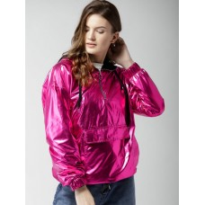FOREVER 21 Women Pink Glossy Hooded Tailored Jacket 6979441 QFLGBWQ