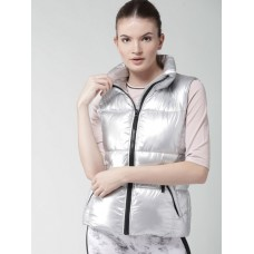 FOREVER 21 Women Silver Solid Padded Sports Jacket 6979444 MKDSXQM