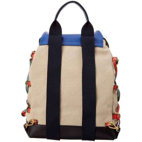 Marni Lace-Up Canvas & Leather Panelled Backpack 2018 new style TEDWWRS