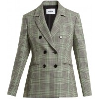 MSGM Checked double-breasted wool blazer 2018 new style XSBSTSY