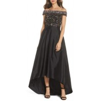 Adrianna Papell Off the Shoulder Beaded Ballgown 2018 new style TELHNNW