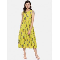 Colour Me by Melange Women Lime Green Printed Empire Dress 6974419 ULHYIBL