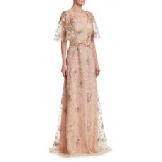 David Meister Short Sleeve Floral Embellished Gown 2018 new style WUPUWLM