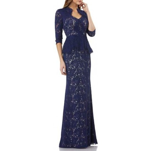 JS Collections Diamond Neck Peplum Gown 2018 new style RKDQYWT