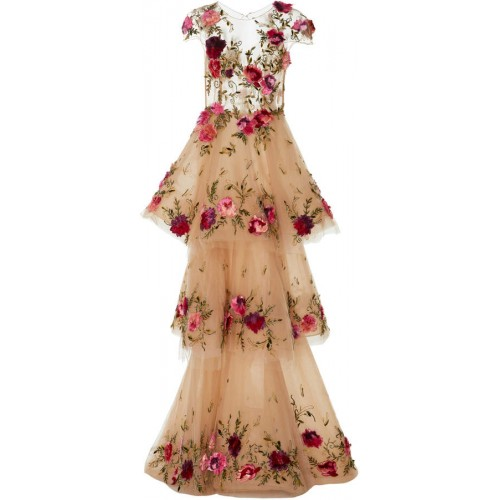 Marchesa Floral-Appliquéd Tiered Tulle Gown 2018 new style LGVIYIJ