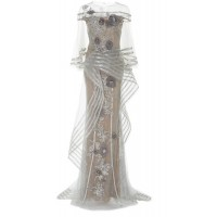 Marchesa Metallic Floral-Appliqué Tulle Gown 2018 new style TAHBFZG