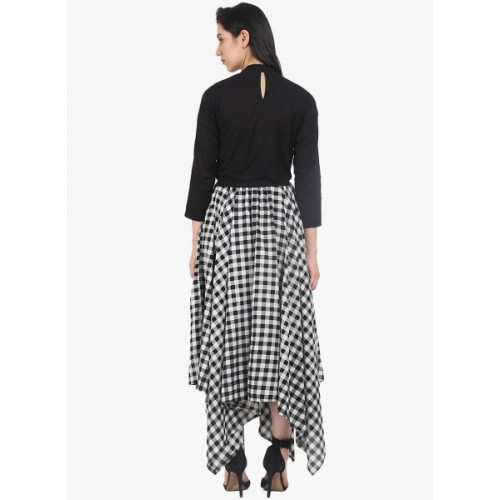 Nayo White Checked Flared Skirt With Top 6691466 UDKGEZF