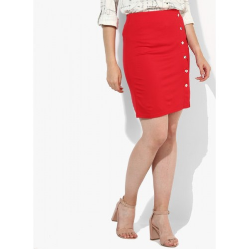 United Colors of Benetton Red Solid Pencil Skirt 6835752 FVOLDYM